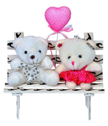 Love cute Creamy Teddy Valentine Couple on Bench