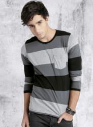 Grey Melange Striped Round Neck T-Shirt