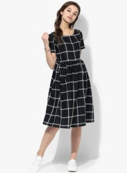 Black Checked Skater Dress