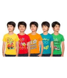 Pari & Prince Kids Round Neck T-Shirts (Pack of 5) Assorted