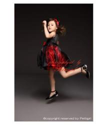 RedVelvet Red and Black Net partywear Frock for Girls