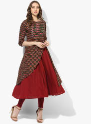 Round Neck 3/4Th Sleeves Double Layer Tunic With Sequence And Thread Detailing