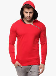 Red Solid Hooded T Shirt