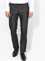 Dark Grey Solid Skinny Fit Formal Trouser