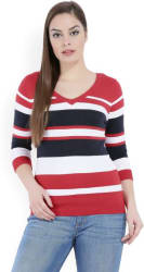 United Colors of Benetton Striped V-neck Casual Women s Multicolor Sweater