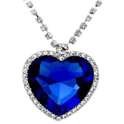 Caratcube Sapphire Blue Austrian Crystal Heart Of The Ocean Titanic Pendant