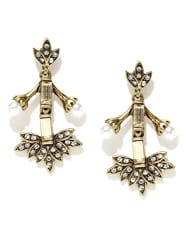pipabella White Metal Oxidized Stone Dangle & Drop Earring For Women