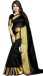 Indian Beauty Black Color Cotton Blend Saree With Blouse