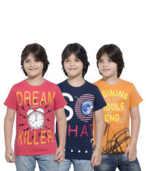 Maniac Multicoloured Cotton T Shirts (Pack of 3)