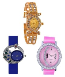 Maan International New 2018 Combo-3 Multicolor Analogue Girls Watch