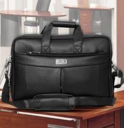 SSTL Black Leather Office Messenger Bag