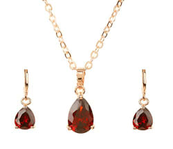 Bling N Beads 18K Gold Plated Ruby Pendant Necklace Set Valentine Gift for her