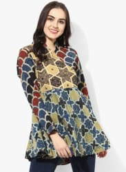 Band Collar Full Sleeves Ajrak Tunic With Mirror Detailing