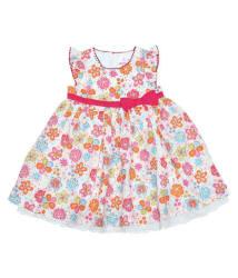 Young Birds Multi Flower Print Dress - Pink