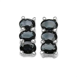 Johareez 1.50CTW Genuine Blue Sapphire .925 Sterling Silver Earrings
