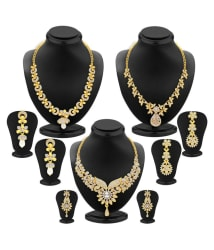 Sukkhi Multicolour Artificial Gold Plated Stone Necklace Set - Set Of 3