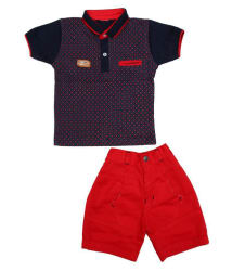 Zadmus Boys Cotton T - Shirt & Cotton Shorts Dress (Red, 4 - 5 Years)