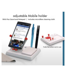 Jeeya Mobile holder with angle adjustment, pen stand, and notepad (Pack of 1)