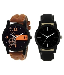 Maan International Black Analogue Men s & Boy s Watch Leather Strap LR-01-05