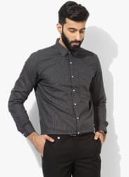 Black Textured Slim Fit Formal Shirts