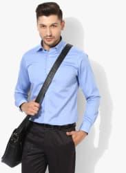Blue Solid Slim Fit Formal Shirt