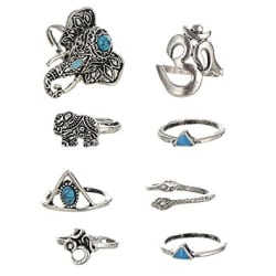 Habors Silver Non-Precious Metal Midi Ring for Women(8 Pieces Set) (Valentine Gift)
