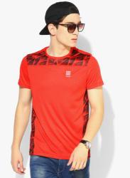 Red Printed Round Neck T-Shirt