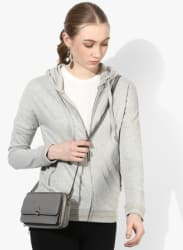 Grey Solid Sweat Jacket
