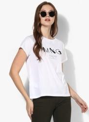 White Printed T Shirt