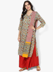 Round Neck Block Printed Kurta With Flared Palazzo And Printed Dupatta