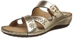 Catwalk Women s Gold Leather Sandals - 8 UK/India (40 EU)