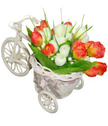 Sky Trends Gift Set Plastic Cycle & Artyficial Flower Bunch Best Gift