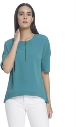 Vero Moda Casual Short Sleeve Solid Women s Green Top