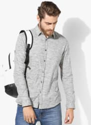 Grey Textured Slim Fit Casual Shirt