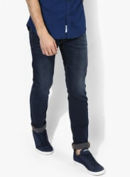 Navy Blue Washed Low Rise Skinny Fit Jeans