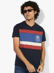 Navy Blue Striped Regular Fit V Neck T-Shirt