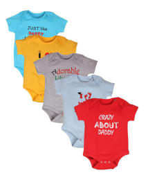 Goodway Pack of 5 Infants Body Suit Mom and Dad -1 Printed Tshirts