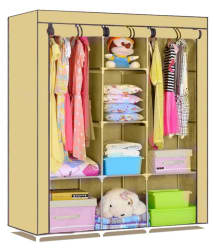 SS Kripa Portable Non-woven Canvas Fabric Folding/Collapsible Wardrobe With Triple Door - Beige