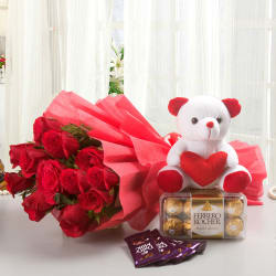 Ferns N Petals Valentine - Rosy Combo