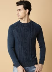 Navy Blue Self Pattern Sweater