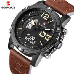 Genuine NAVIFORCE Men Luxury Brand Quartz Analog Digital Leather Men Sport Watch