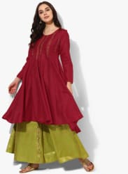 Round Neck High & Low Full Sleeves Anarkali With Embroidery Detailing And Brocade Plazzo