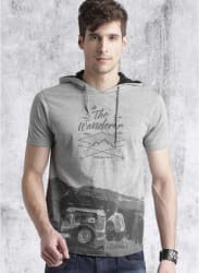 Grey Melange Printed Regular Fit Hooded T Shirt