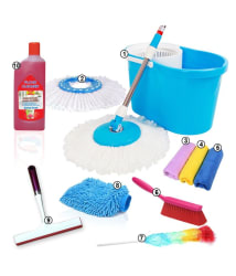 Kawachi 10 in 1 Single Bucket Mop & Cleaning Kit