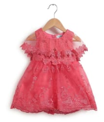 Chimprala Sleeveless lace dress with attached cape frocks for girls