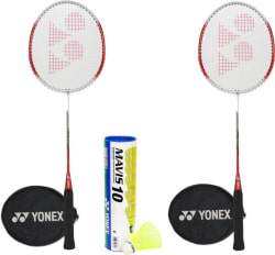 Yonex GR301 Mavis Combo Badminton Kit(2 Badminton Racquets,1 Mavis 10 Shuttlebox (Pack of 6) Badminton Kit