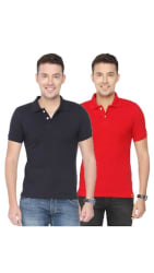 Ketex AND DESIGNS Black And Red Half Sleeves Polo T-Shirt Pack Of 2 (Size-M)