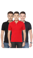 Ketex AND DESIGNS Navy Black And Red Half Sleeves Polo T-Shirt Pack Of 3 (Size-M)