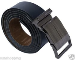 Sunshopping men s non leather black self textured auto lock buckle belt(KJH0092)