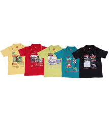 Ultra Palio Multicolour Cotton Polo T Shirt - Pack of 5